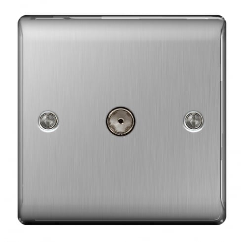 BG Electrical Nexus Coaxial Socket 1G Brushed Steel Grey
