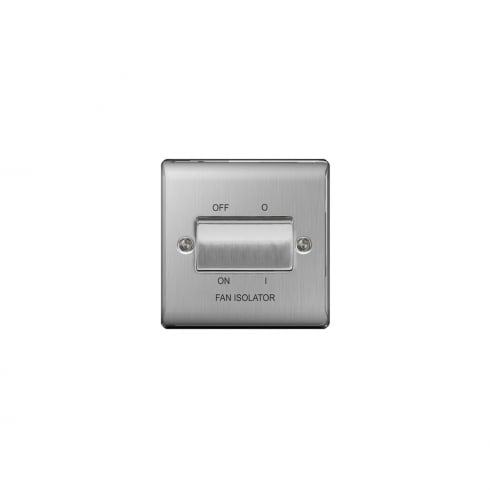 BG Electrical Nexus Fan Isolator 3P Brushed Steel Grey