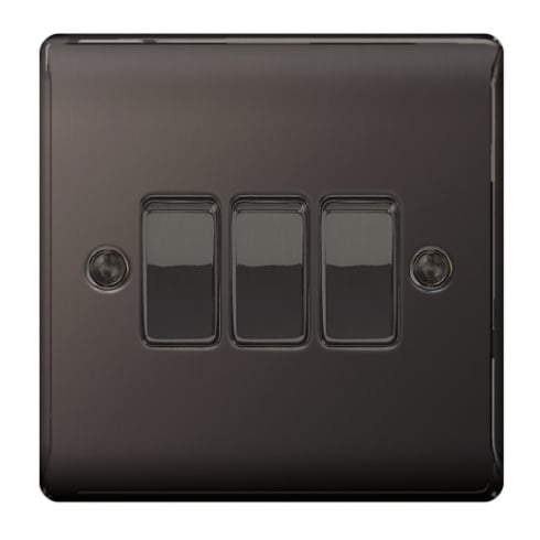 BG Electrical Nexus Switch 10A 3G 2W Black Nickel