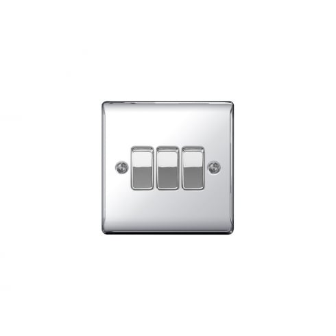 BG Electrical Nexus Switch 10A 3G Polished Chrome