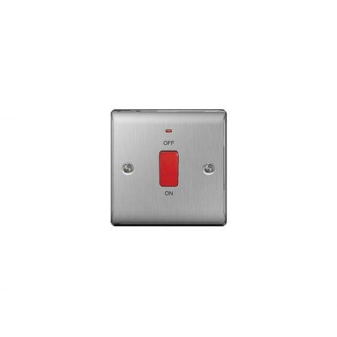 BG Electrical Nexus Switch 45A Double Pole Neon Brushed Steel Grey