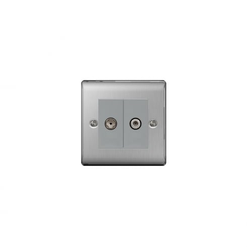 BG Electrical Nexus Coaxial Socket + Sat Brushed Steel Grey