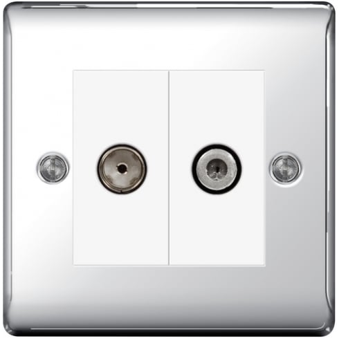 BG Electrical Nexus Coaxial Socket + Sat Polished Chrome