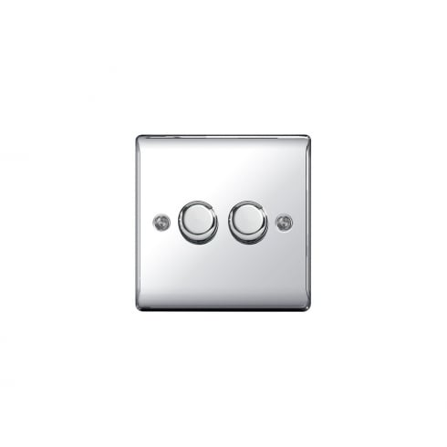 BG Electrical Nexus Dimmer 400W 2G 2W Polished Chrome