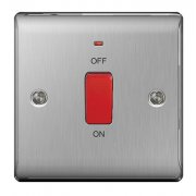 Nexus Switch 45A Double Pole Neon Brushed Steel Grey