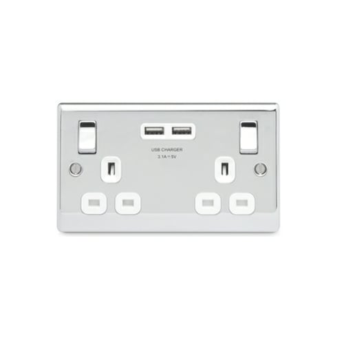 BG Electrical Nexus Switch Socket 13A 2G Polished Chrome USB