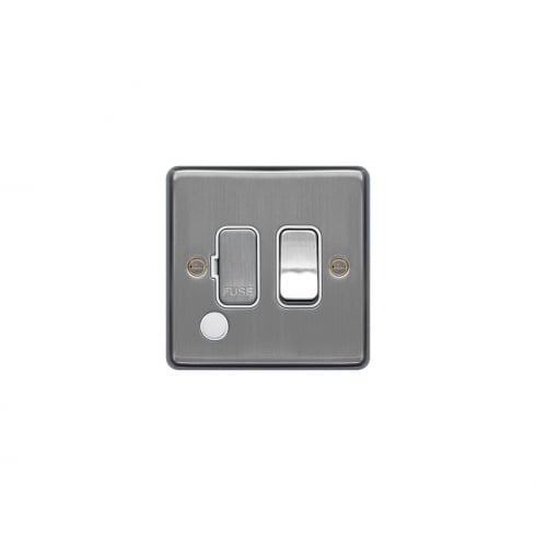Hager Spur Switch F/O Brushed Steel White