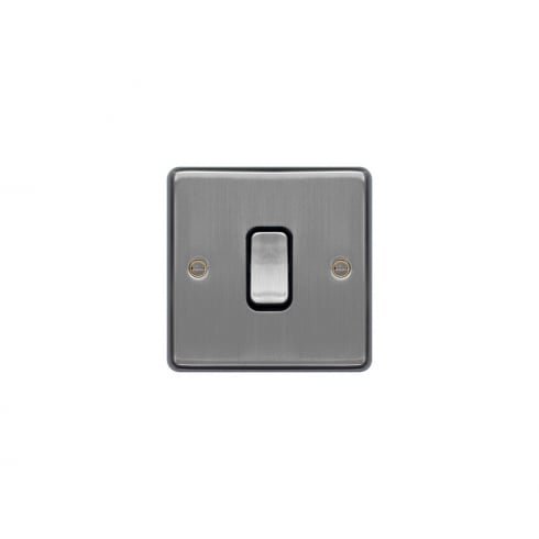 Hager Switch 10A 1G Int Brushed Steel White