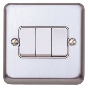 Switch 10A 3G 2W Brushed Steel