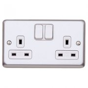 Switch Socket 13A 2G Brushed Steel